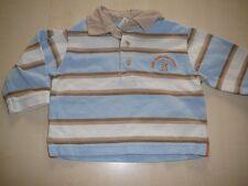 C & A tolles Langarmshirt Gr. 68 beige-hellblau gestreift mit Polokragen !!
