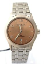 KENNETH COLE BROWN Analog Date Stainless Steel Bracelet KC3006 100% Brand New