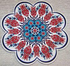 "7"" (18cm) Turkish Ceramic Iznik Red Tulip & Daisy Hot Plate Trivet Tile"
