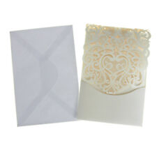 Blank Invitations Rectangle Laser Cut Design, Ivory, 7-1/4-Inch, 8-Count