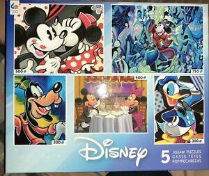 5 Disney Family Puzzle Pack 300, 500, 750 Pieces Mega Puzzles Mickey Set Lot