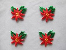 #3186 Christmas Red Flower,Poinsettias Embroidery Iron On Applique Patch