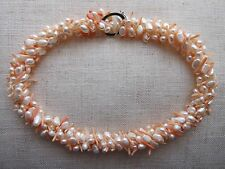 Freshwater Cultured Pearl & Genuine Coral Necklace - NEW & Beautiful.