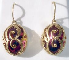 Baccarat Favorite Earrings Oval Crystal Pink Mordore Vermeil Gold New