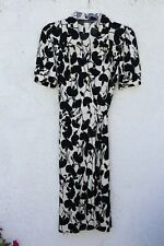 Odessa Faux Wrap Dress Black White Floral estimated S Small rayon flowy knee