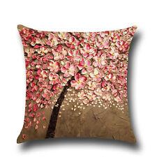 Floral Tree Linen Pillow Case Bed Waist Back Throw Cushion Cover Home Sofa Decor