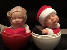 2009 2008 Anne Geddes Christmas Reindeer Baby Ms Clause Doll In Egg Rare Nwob