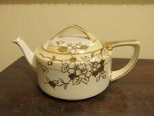 Nippon Noritake China Japan Teapot Gold Flowers Damaged Lid