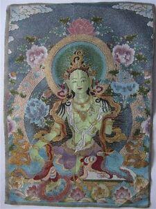 "23.6""tibetan Nepal silk embroidered thangka tibet buddha Green tara"
