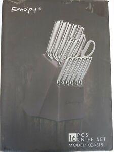 Emojoy Block Knife Set, 16 pices, KC-KS01