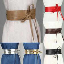 Women Bowknot Wrap PU Leather Around Tie Corset Waist Wide Dress Belts Accessory