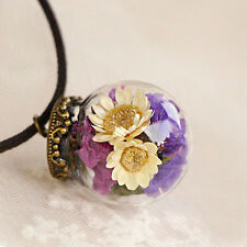 Natural Real Dried Flower Wishing Bottle Glass Pendant Necklace Women's Jewelry