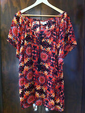 STYLISH AUTOGRAPH ORANGE/RED FLORAL BO HO TOP SIZE 24 NEAR NEW