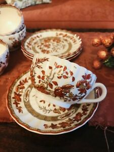 Spode India Indian Tree Tea Cups and Saucers, Set of 4, Old Mark