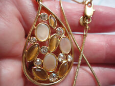 """Goldplated signed M&S MOP amber moonglass clear crystal 14 gram 16-19"""" necklace"""