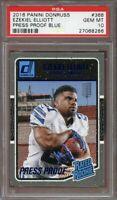 2016 donruss press proof blue #368 EZEKIEL ELLIOTT cowboys rookie card PSA 10