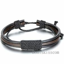 Fashion Mens Punk Handmade Black Brown Leather Surfer Braided Wristband Bracelet