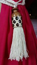 Balinese  Coconut & Resin Carved Wood Cotton Tie Back Tassel (pair)