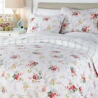 Anna Griffin® Reversible Floral 3-piece Quilt Set Lavender Full/ Queen Brand New