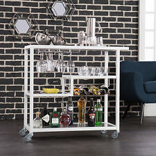 MWC81088 WHITE / GLASS METAL WINE SERVING CART