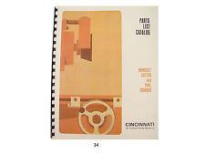 Cincinnati Monoset Tool Grinder Model OE Parts List Manual *34