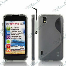 ACCESSORIES COVERS CASE GEL SILICONE TPU S STYLUS FILMS GREY LG Optimus P970