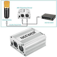 Neewer 48V Phantom Power Supply with Adapter and XLR Cable(Silver)