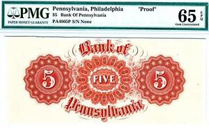 "$5 BANK OF PENNSYLVANIA PROOF ""Wheels Of Fire"" PMG 65 EPQ GEM UNCIRCULATED"