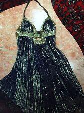 Women's Metallic Blue And Gold Pleated JOVANI EVENING DRESS SIZE 4