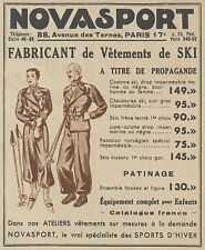 Z9355 NOVASPORT Vetements de Ski -  Pubblicità d'epoca - 1936 Old advertising