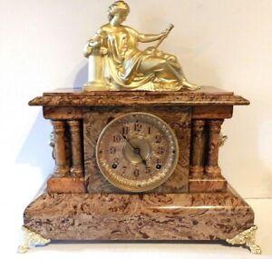 Antique Seth Thomas Faux Marble Adamantine 8 Day T&S Four Column Mantle Clock.