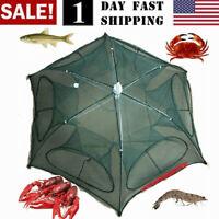2 Layer Crab Fish Shrimp Minnow Fishing Bait Trap Cast Dip G Cage Net L8M7