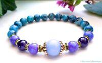 Dzi Bead Bracelet Healing Energies Calming Anti-Anxiety Bracelet Angelite Bracelet -10mm Angelite Bracelet