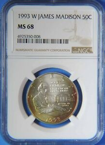 1993 W James Madison Commemorative Silver Half Dollar NGC MS68 Toned Star Toning