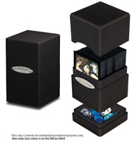 Ultra Pro Satin Black Tower Deck Box Compartment Card Storage MTG Yugioh Pokemon