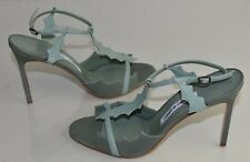 New Manolo Blahnik Sandals Green Ankle Strap Leather Shoes BB Heels 41.5