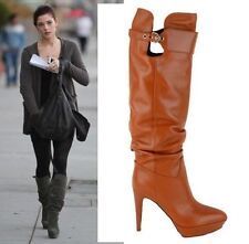$1,295 SERGIO ROSSI TALL BOOTS SLOUCHY VERONICA TERACOTTA LEATHER 39 / 9