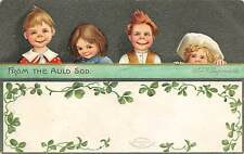 Signed Clapsaddle c. 1910 St. Patrick's Day Greeting, Young Children & Clovers