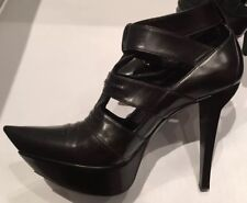 Edgy Balenciaga Black Leather Heels - Size 37, UK 4, Brand New