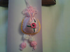 hand-made pink money bag Chinese knot, charm, pendant + embroidery lucky flower