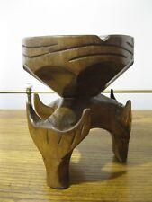 Vintage WESTERN BULL STEER Ashtray Hand Carved Wooden Wood Folk Art a66332335b87