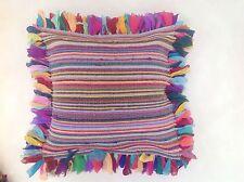 ❤️Multi Colour Shaggy Rag Rug Style White Stitch Cushion Cover 80 x 80cm & Inner