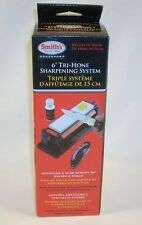 "Smiths 6"" Tri-Hone Knife & Tools Sharpening Block Arkansas Stone"