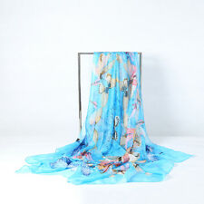 Extra Large Square Chiffon Scarf Blue Theme Butterfly Print CHF103
