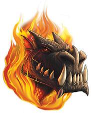 """Dragon"" Temporary Tattoo, Dragon Head w/ Large Fangs Teeth in Fire, USA Made"