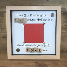 Personalised Box Photo Frame Step Dad Fathers Day Dad Daddy Gift Scrabble