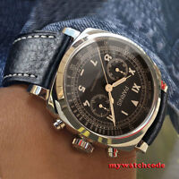 gorgeous 44mm PARNIS quartz coffee dial mens watch solid case full Chronograph