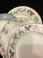 4 - Vintage Mismatched China Dessert Plates Seafoam Green and Plum  # 115