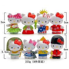 8pcs Hello kitty National dress up Anime action figure Toys Cake decoration Gift