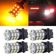 4PCS 3157 60SMD Rear Brake Lights Switchback White Amber Turn Signal LED Bulbs